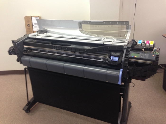 Repairing a system error 2:10 on a DesignJet 510 42 inch wide format plotter printer.