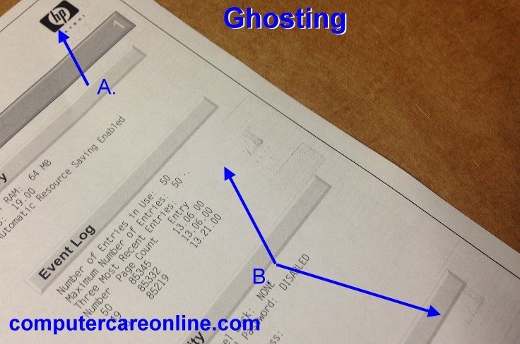 Ghosting, is a problem that can occur with laser printers.