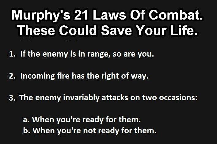 Part 1 of Murphy's 21 laws of combat
