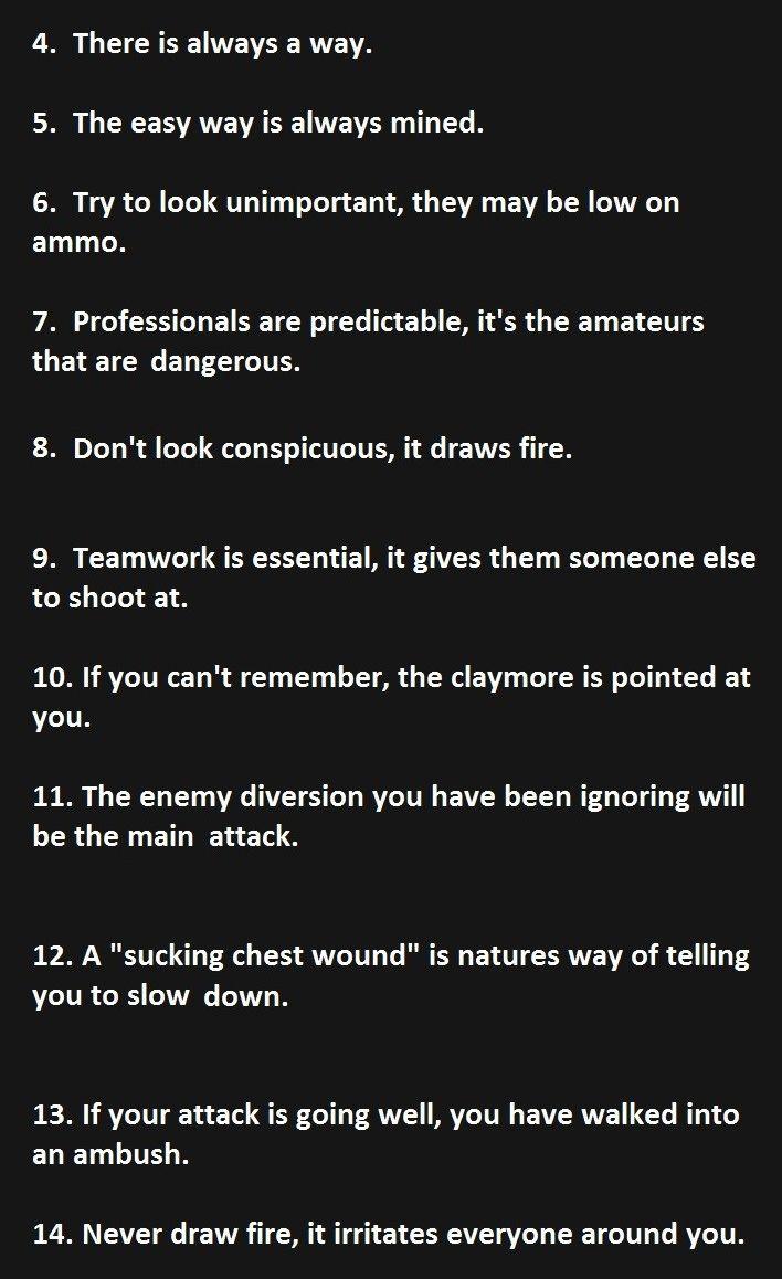Part 2 of Murphy's 21 laws of combat