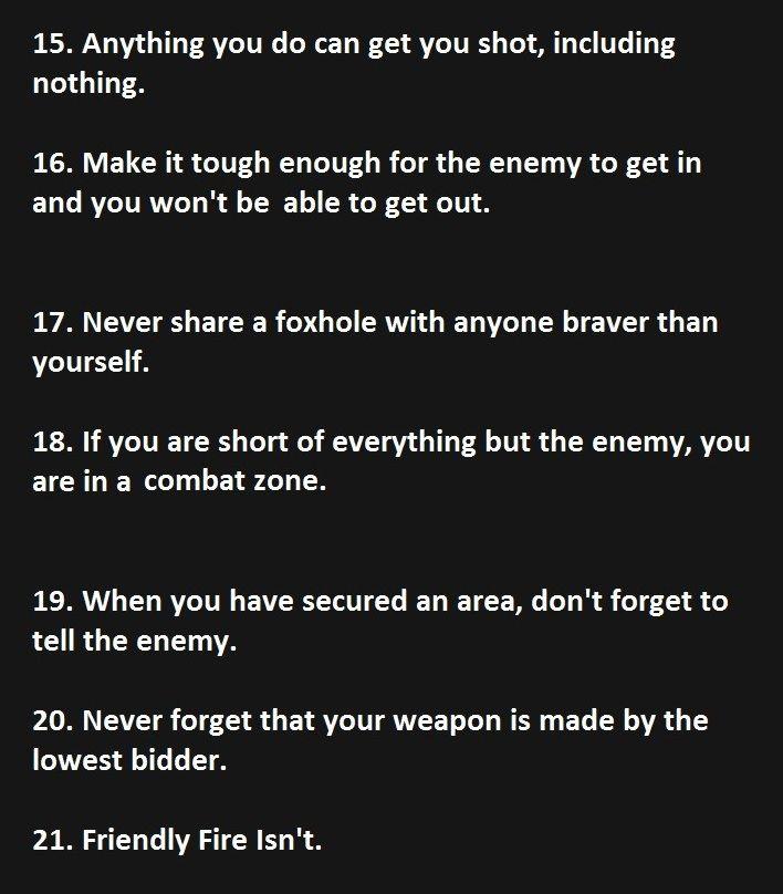 Part 3 of Murphy's 21 laws of combat